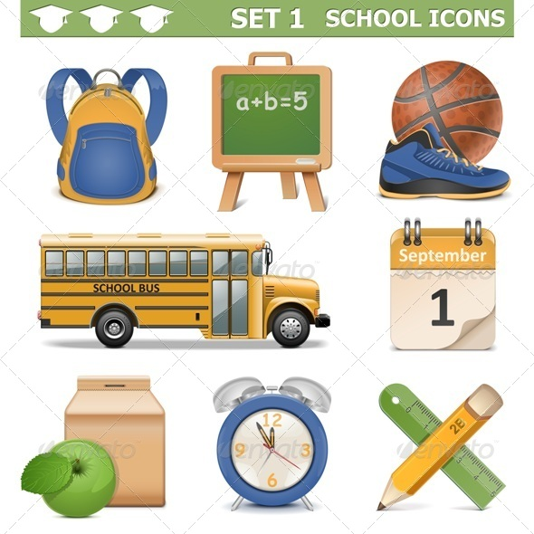 GraphicRiver Vector School Icons Set 5473003