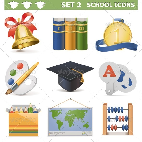 GraphicRiver Vector School Icons Set 5473009