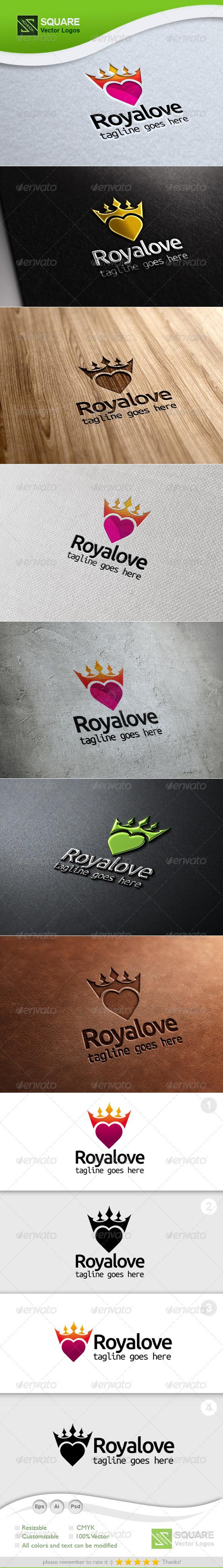 Crown, Heart Vector Logo Template - Symbols Logo Templates