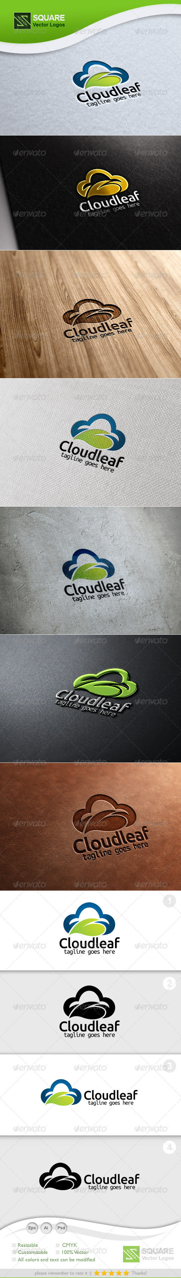 GraphicRiver Cloud Leaf Vector Logo Template 5473129
