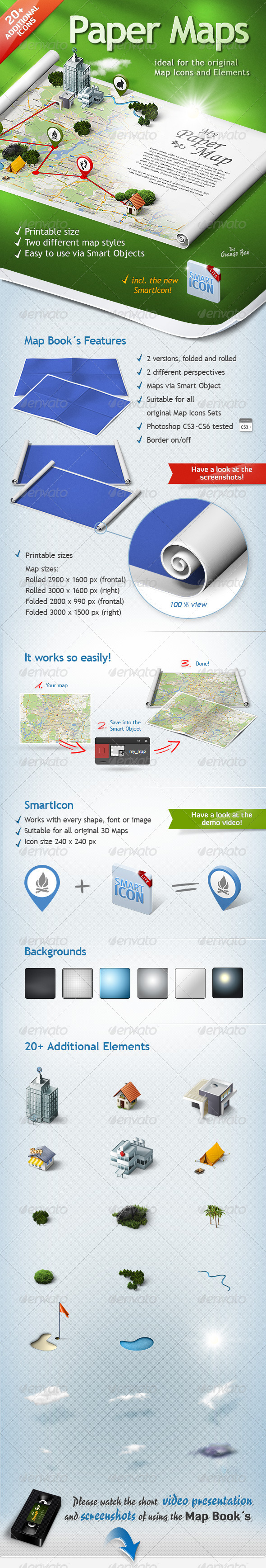 GraphicRiver Paper Maps The stage for your 3D Maps and Icons 5473135