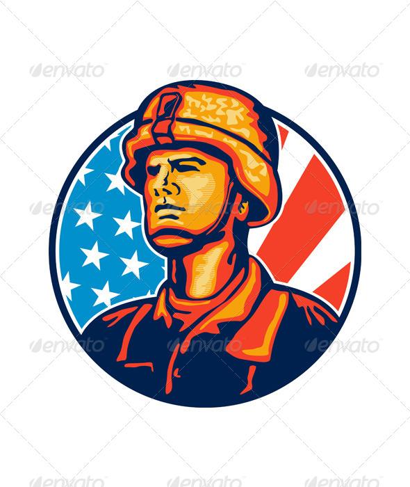 GraphicRiver American Serviceman Soldier Flag Retro 5473288