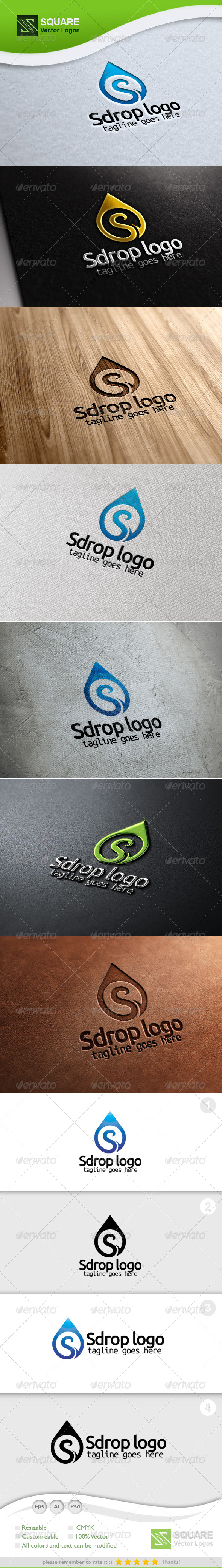 S Letter Drop Vector Logo Template