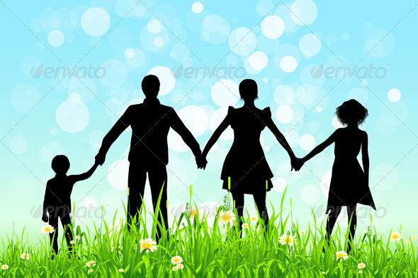 GraphicRiver Green Grass and Blue Sky with Family Silhouettes 5473737
