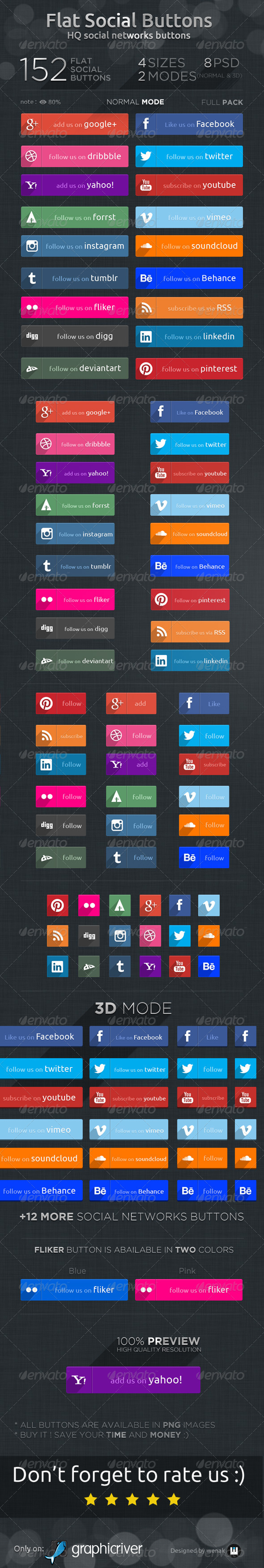 GraphicRiver Flat Social Buttons- Social Networks Buttons 5474568