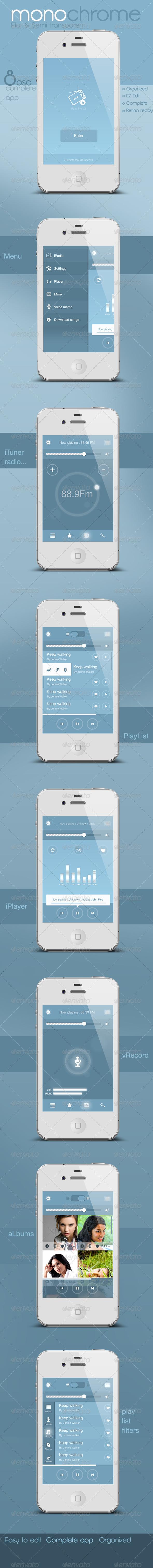 GraphicRiver Flat and Semi Transparent Audio App 5474709