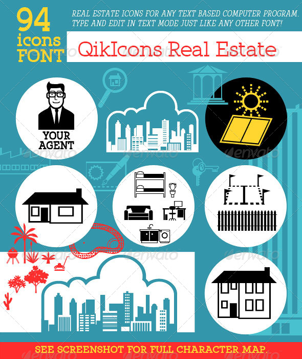 GraphicRiver Real Estate & Property Icon Font 5474783
