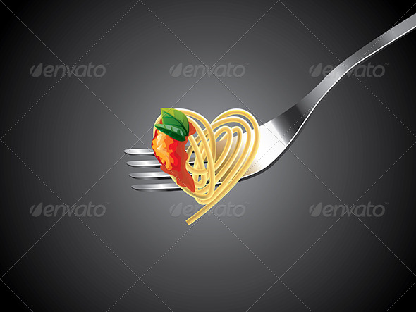 GraphicRiver Spaghetti on Fork with Tomato Sauce and Basil 5460433
