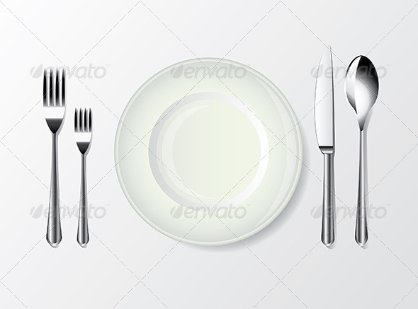 GraphicRiver White Plate Spoon Fork and Knife 5460107