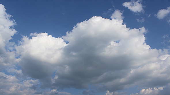 Puffy Clouds On Blue Sky Timelapse