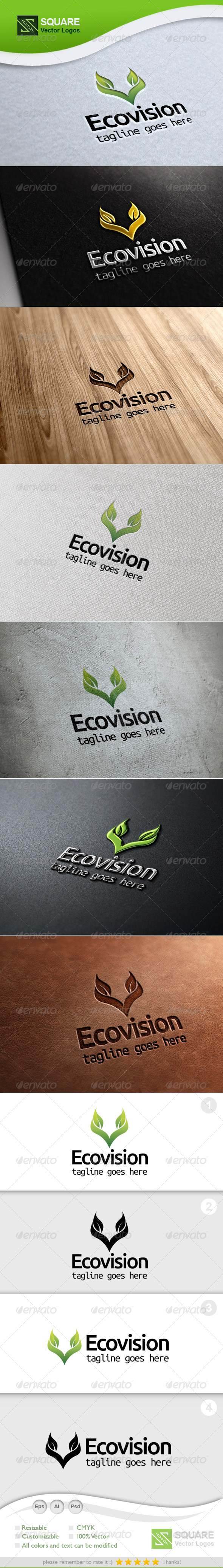 GraphicRiver V Letter Leafs Vector Logo Template 5475193