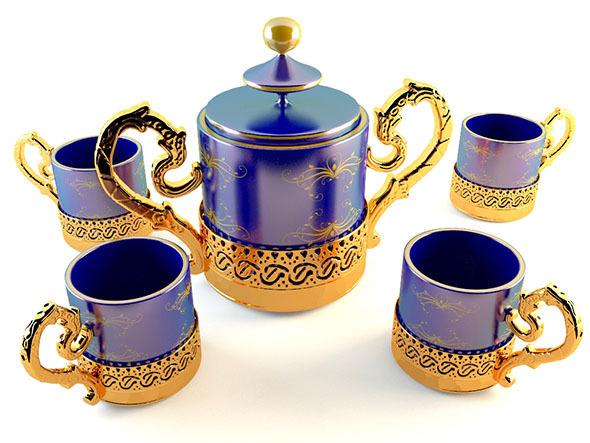 3DOcean Golden Tea Coffee Set 5446037