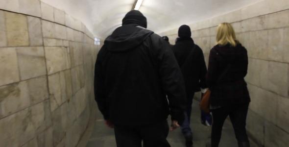 Walking Crowd Underground