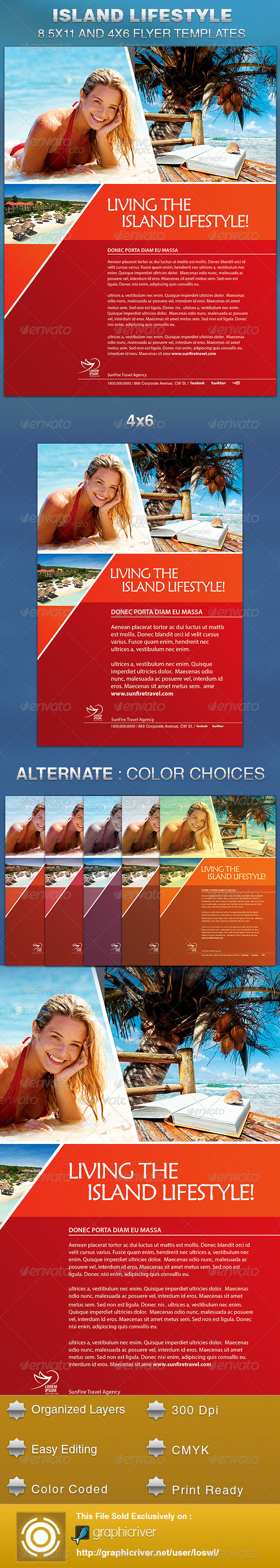 GraphicRiver Island Lifestyle Vacation Flyer Template 5476456