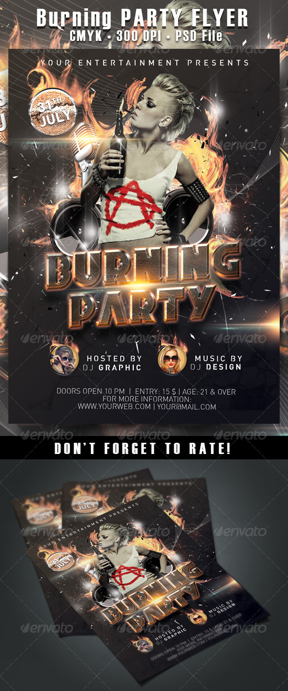 GraphicRiver Burning Party Flyer 5455321