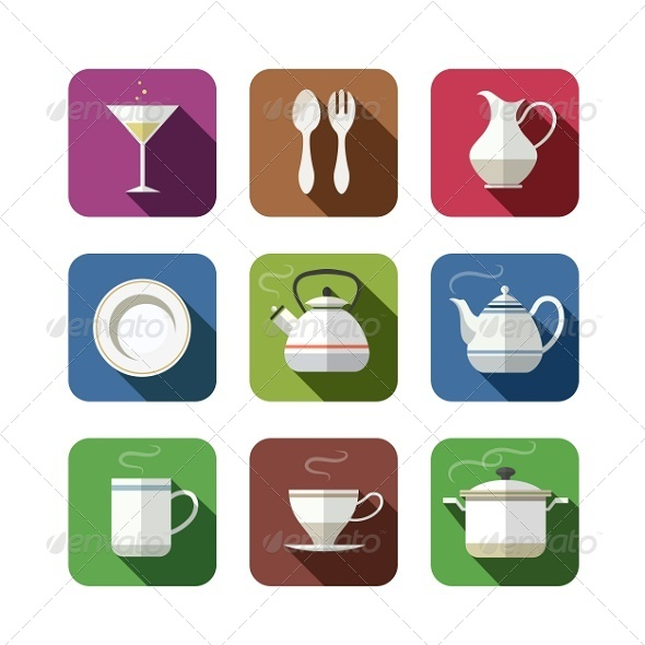 GraphicRiver Kitchen Tableware Set of Icons 5476555