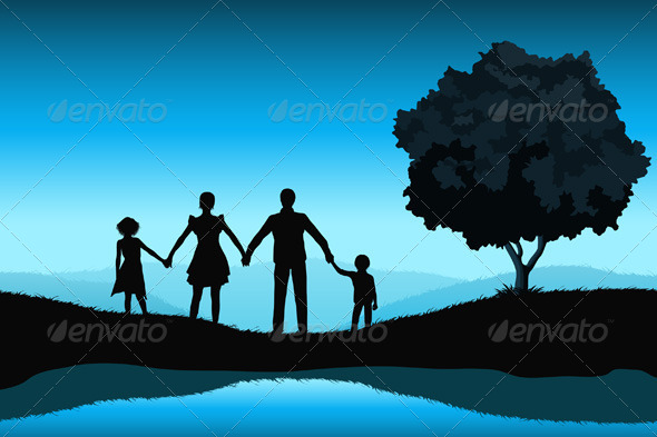 GraphicRiver Nature Background with Family Silhouette 5476636