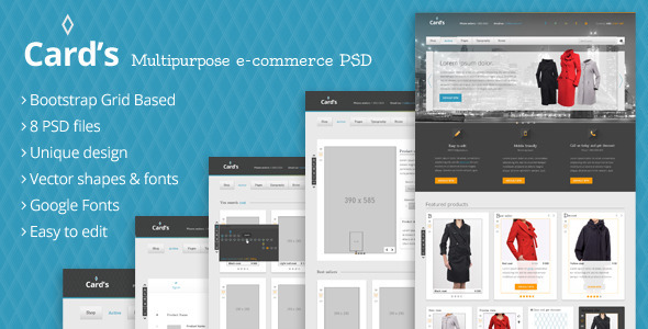 ThemeForest Cards Multipurpose e-commerce PSD template 5447894