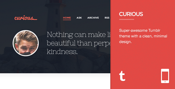 ThemeForest Curious Responsive Tumblr Theme 5477034