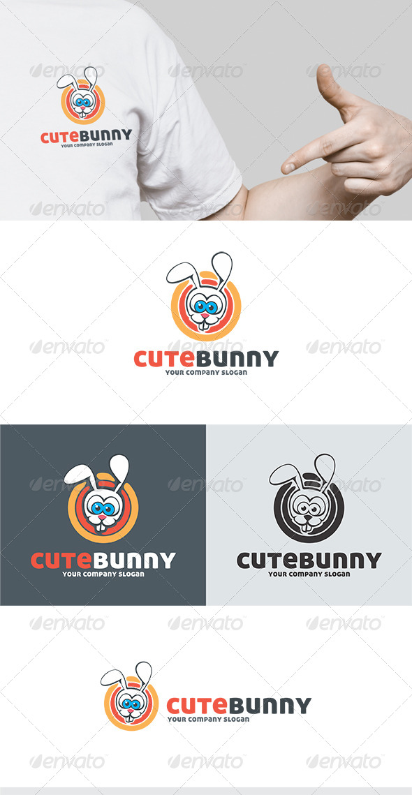 Cute Bunny Logo - Animals Logo Templates