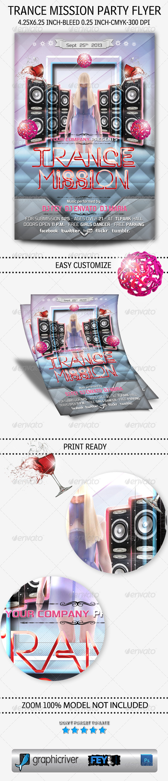 GraphicRiver Trance Mission Party Flyer 5460820