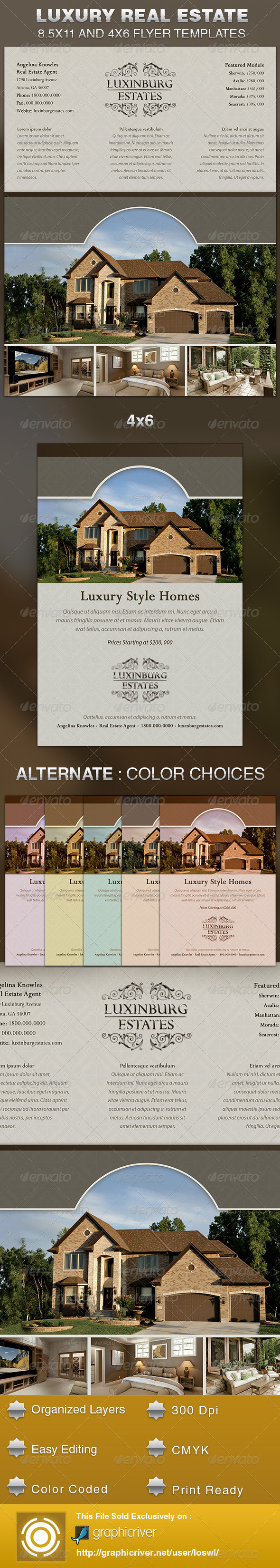 Luxury real estate flyer template graphicriver for Real estate just sold flyer templates