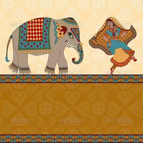 GraphicRiver Indian Woman Dancing with Elephant 5478650