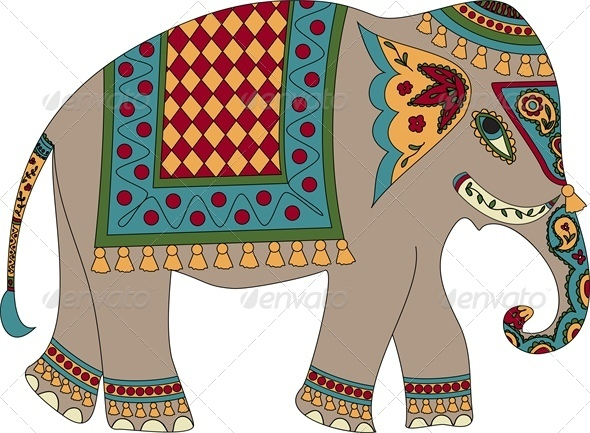 GraphicRiver Stylized Patterned Elephant in Indian Style 5478655