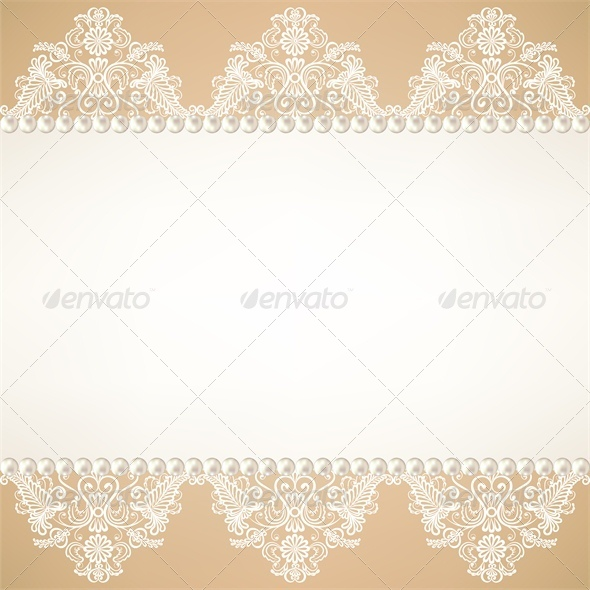 GraphicRiver Lace Fabric Background with Pearls 5478656