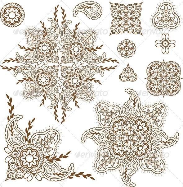 GraphicRiver Paisley Design Elements Set 5478660