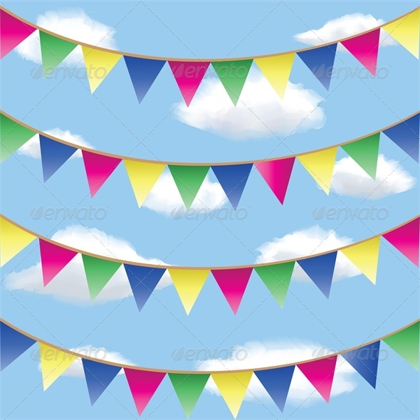 GraphicRiver Bunting Flag Decorations in Sky 5478671