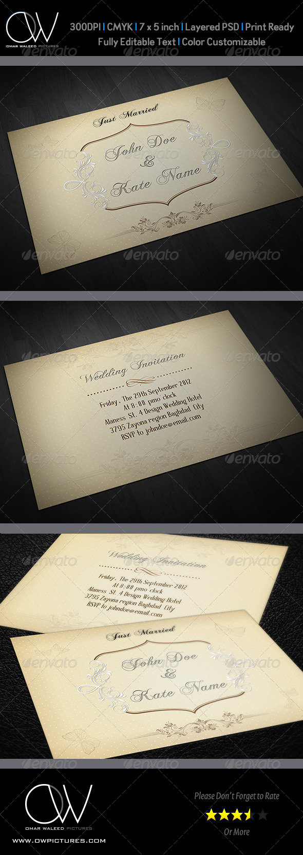 Wedding Invitation Card Template Vol.7 - Greeting Cards Cards & Invites
