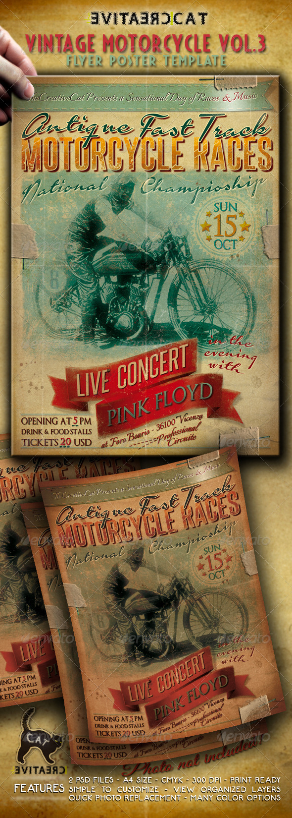 GraphicRiver Vintage Motorcycle Flyer Poster Vol 3 5481181