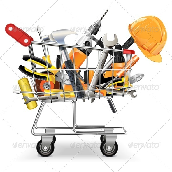 GraphicRiver Vector Cart with Tools 5481188