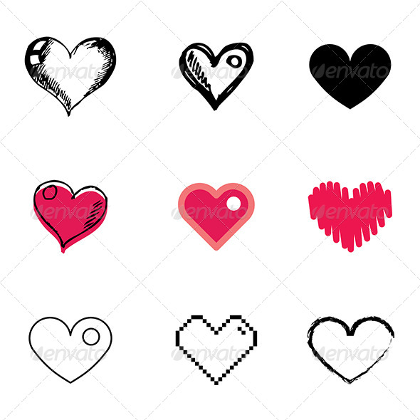 GraphicRiver Heart Symbol Icons Set 5481349