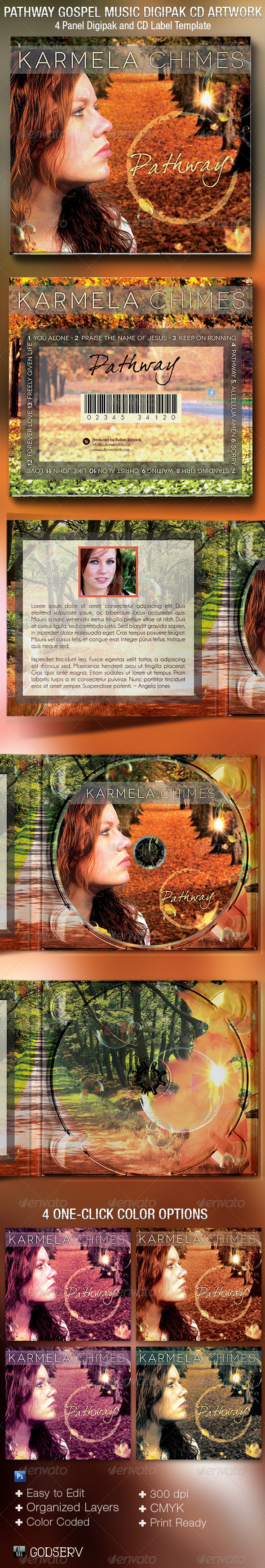 Pathway Gospel Music 4 Panel Digipak CD Template - CD & DVD artwork Print Templates
