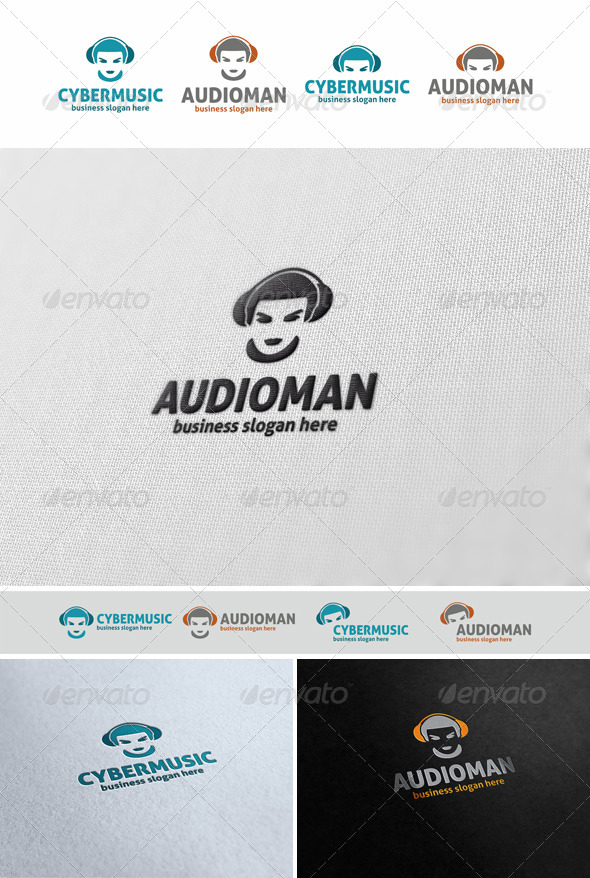 GraphicRiver Audio Man Music Logo Avatar 5482297
