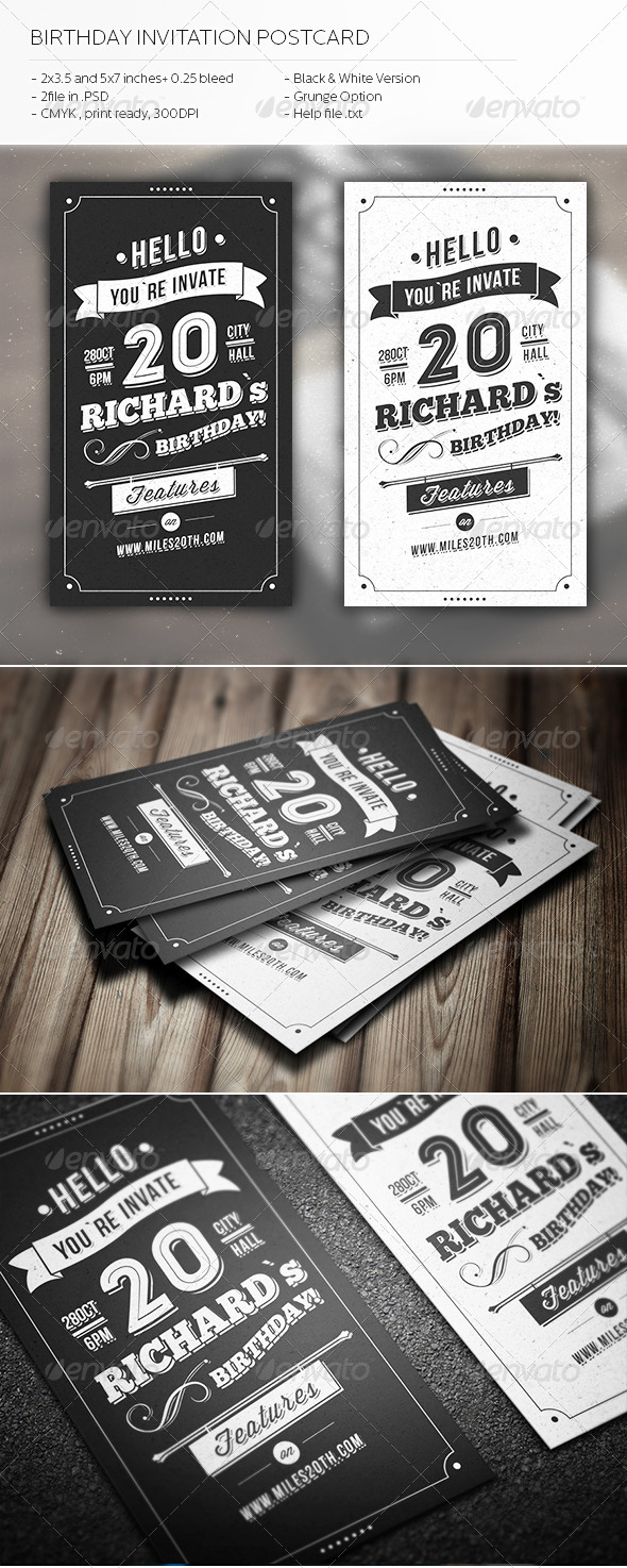 GraphicRiver Birthday Invitation Postcard 5482458