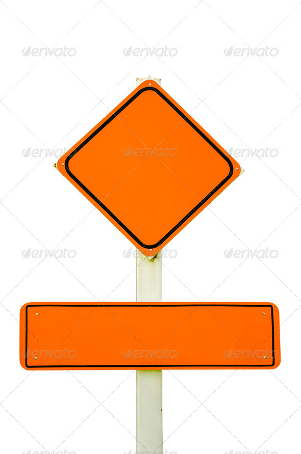 Orange Sign Board isolated with Path. - Stock Photo - Images