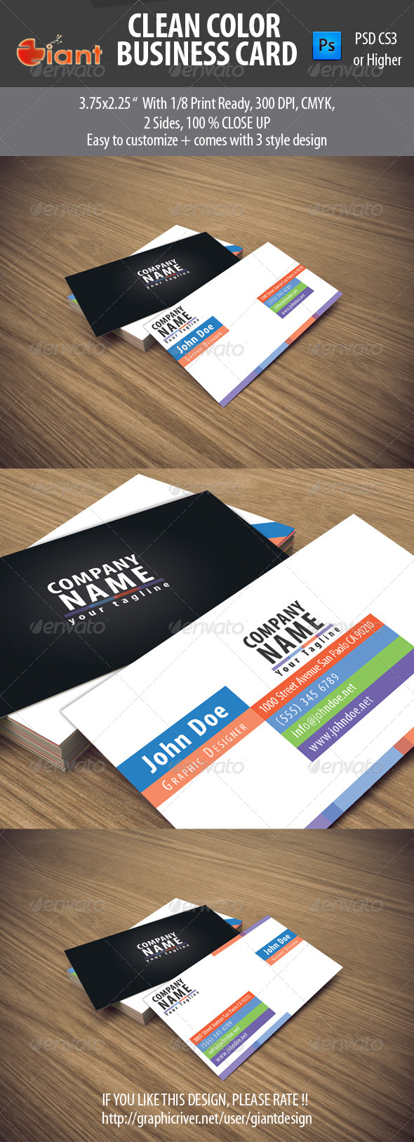 GraphicRiver Clean Color Business Card 5456894