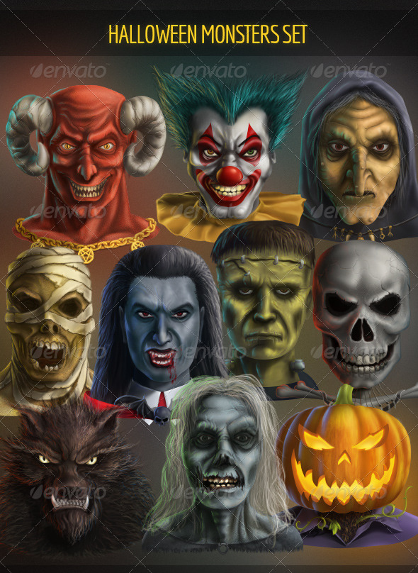 GraphicRiver Halloween Monsters Set 5471148