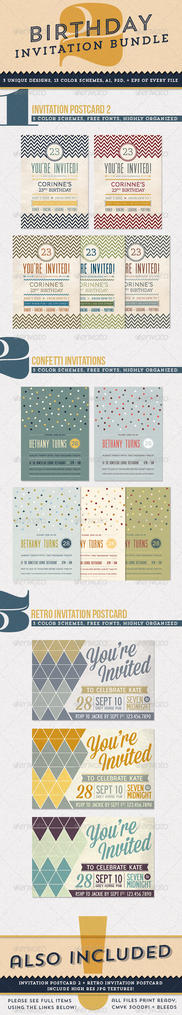 Print Template – GraphicRiver Birthday Invitation Bundle 2 5456031