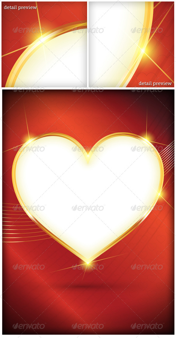 GraphicRiver Shiny Golden Heart Background 5477430