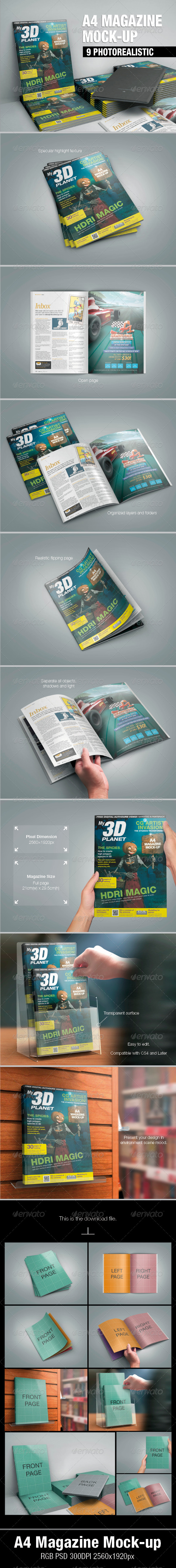 GraphicRiver A4 Magazine Mock-up 5483915