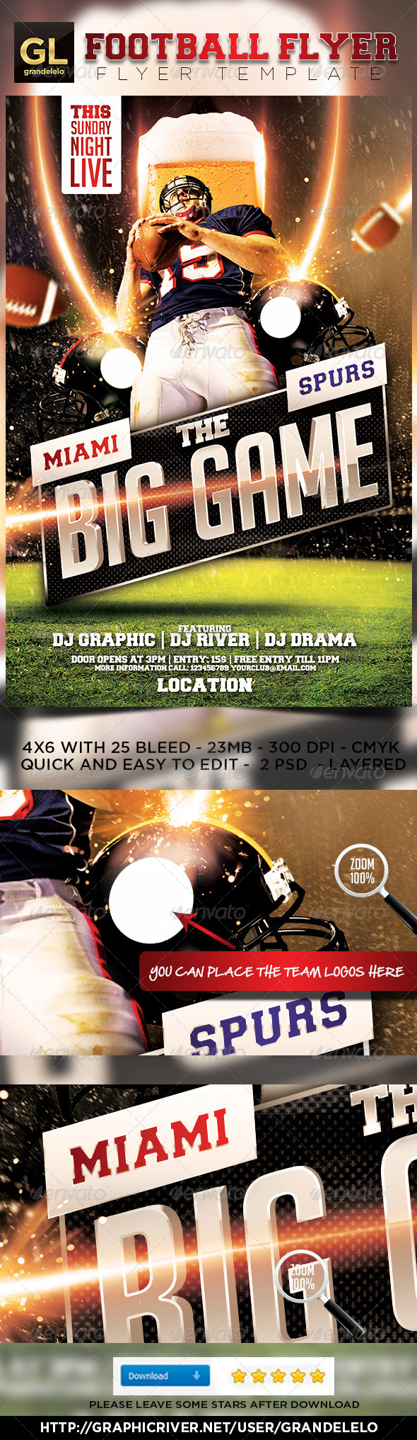 GraphicRiver The Big Game Football Flyer 2.0 5483986