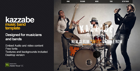Kazzabe – One Page Music Band Template (Creative) | ThemeForest