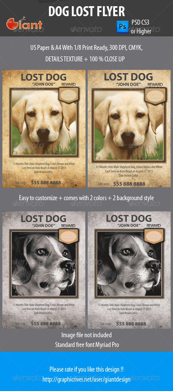 GraphicRiver Dog Lost Flyer 5464819