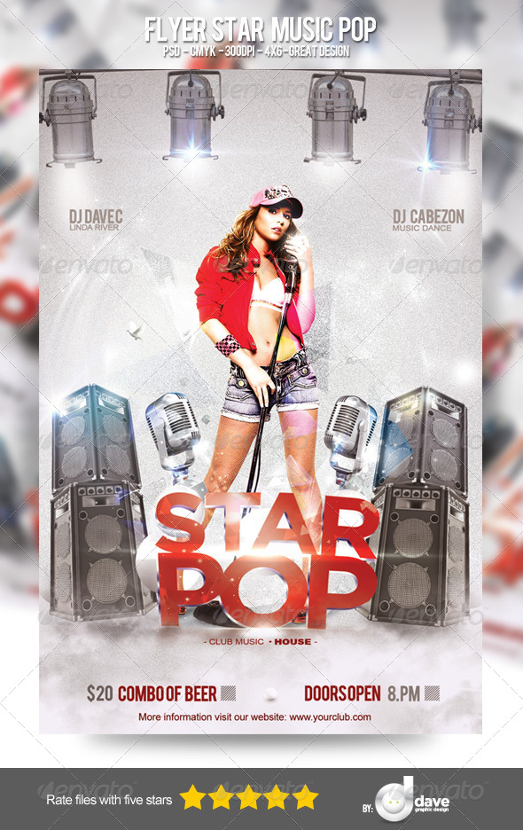 GraphicRiver Flyer Star Music Pop 5485465