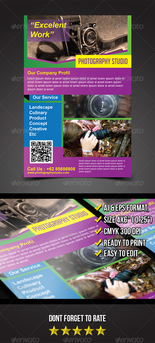 GraphicRiver Photography Studio Flyer Template 5466039