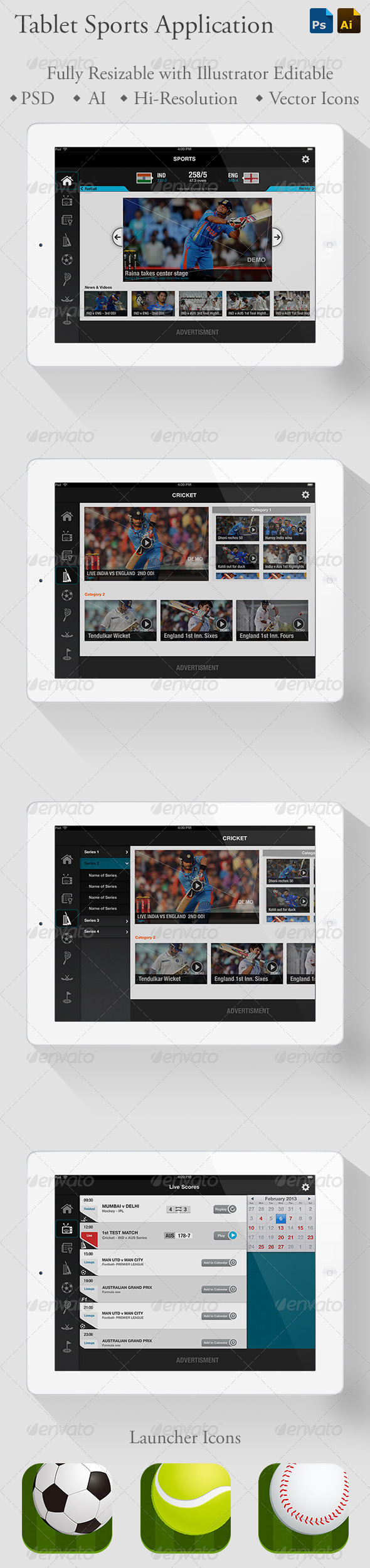 GraphicRiver Sports Application iPad Tablet 5466121